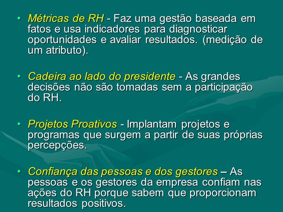 Métricas de RH - Faz uma gestão baseada em fatos e usa indicadores para diagnosticar oportunidades e avaliar resultados. (medição de um atributo).