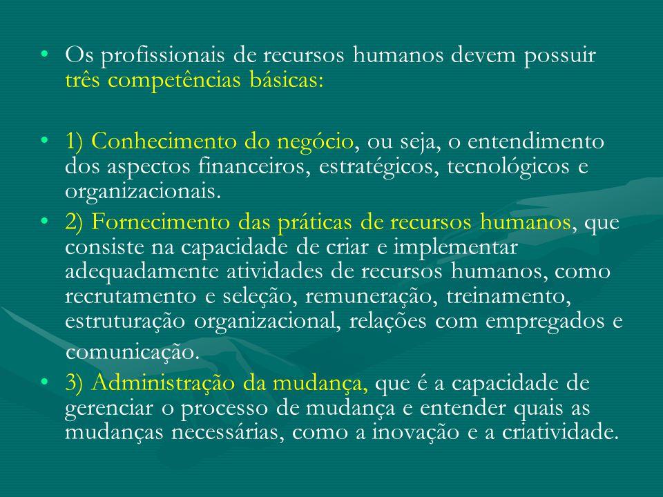 Os profissionais de recursos humanos devem possuir três competências básicas: