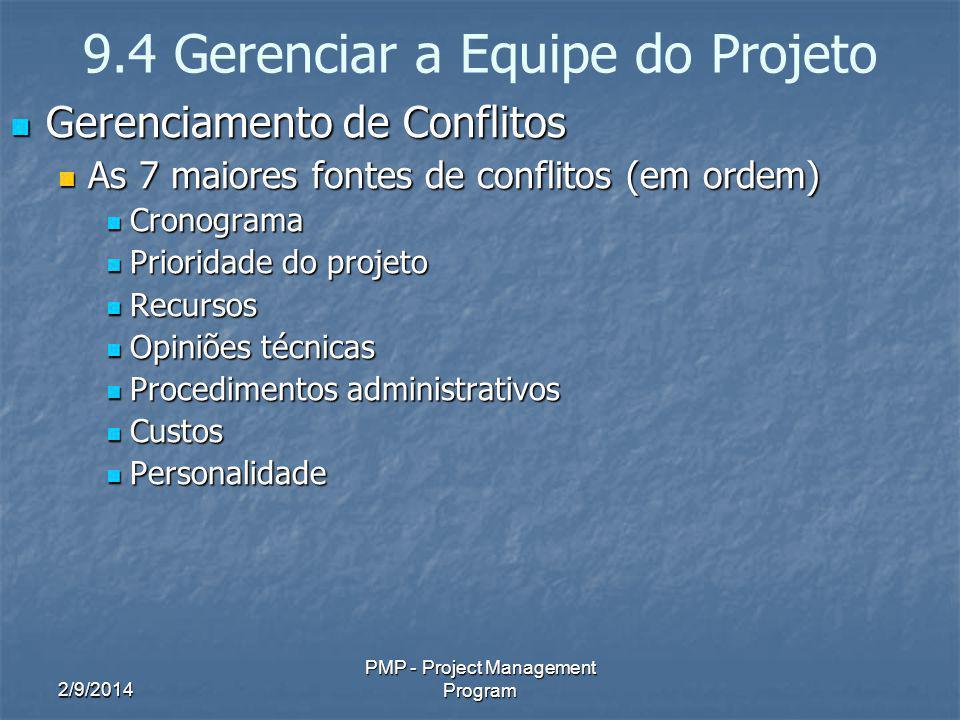 9.4 Gerenciar a Equipe do Projeto