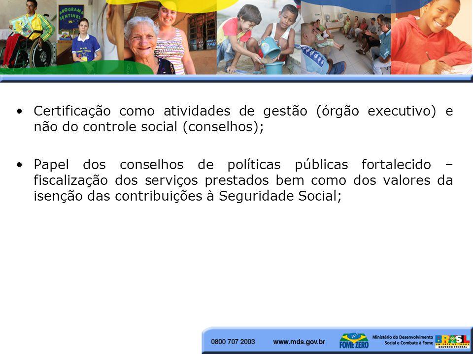 Certificação como atividades de gestão (órgão executivo) e não do controle social (conselhos);