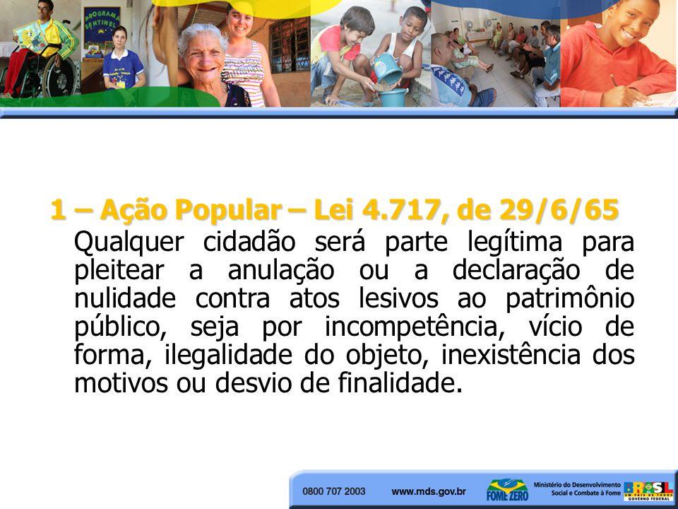 1 – Ação Popular – Lei 4.717, de 29/6/65