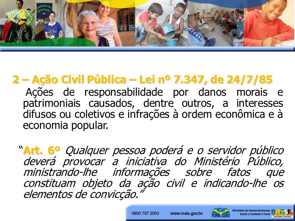 2 – Ação Civil Pública – Lei nº 7.347, de 24/7/85