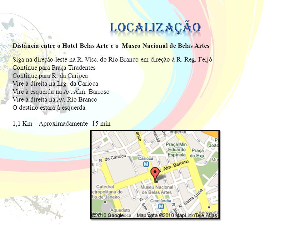 Localização Distância entre o Hotel Belas Arte e o Museo Nacional de Belas Artes.