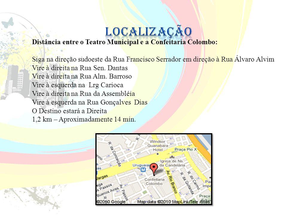 Localização Distância entre o Teatro Municipal e a Confeitaria Colombo: