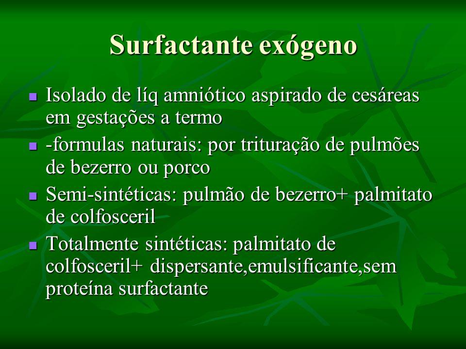 Surfactante exógeno Isolado de líq amniótico aspirado de cesáreas em gestações a termo.