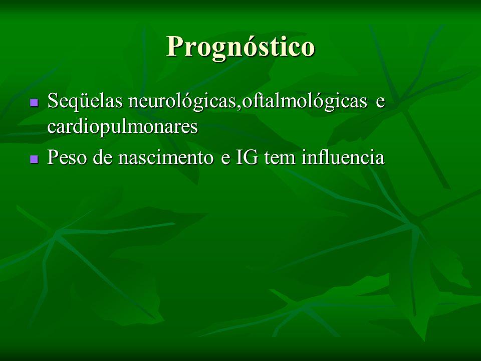 Prognóstico Seqüelas neurológicas,oftalmológicas e cardiopulmonares