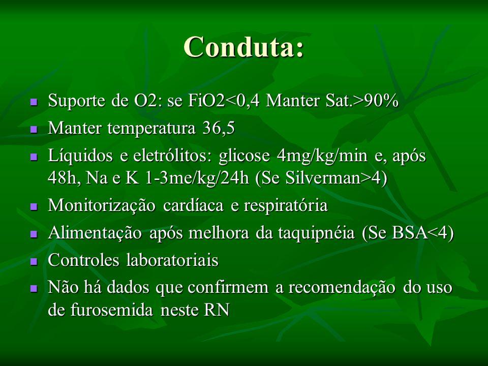 Conduta: Suporte de O2: se FiO2<0,4 Manter Sat.>90%