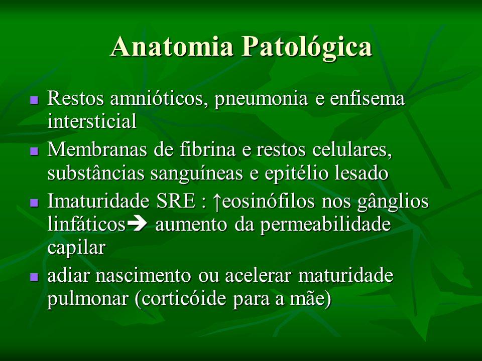 Anatomia Patológica Restos amnióticos, pneumonia e enfisema intersticial.