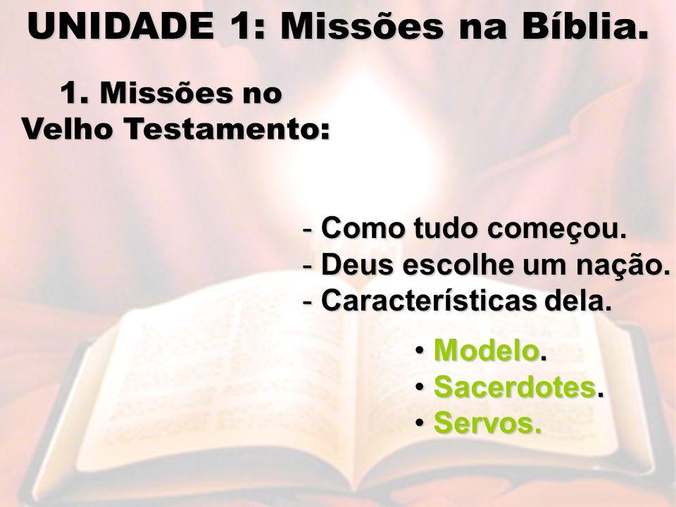 UNIDADE 1: Missões na Bíblia.