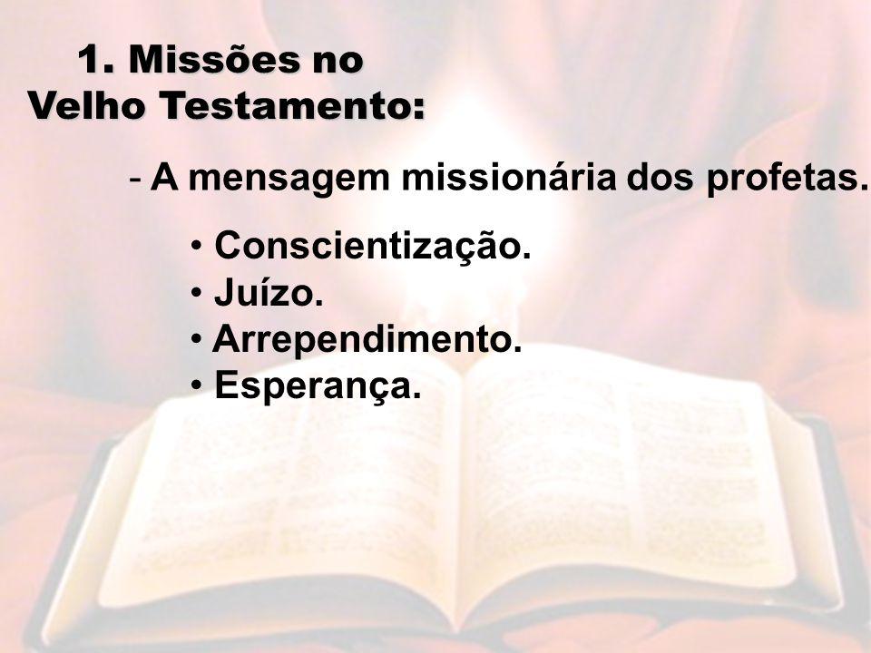 1. Missões no Velho Testamento: A mensagem missionária dos profetas. Conscientização. Juízo. Arrependimento.