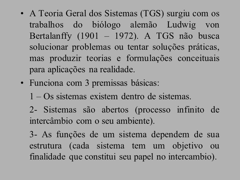 A Teoria Geral dos Sistemas (TGS) surgiu com os trabalhos do biólogo alemão Ludwig von Bertalanffy (1901 – 1972). A TGS não busca solucionar problemas ou tentar soluções práticas, mas produzir teorias e formulações conceituais para aplicações na realidade.
