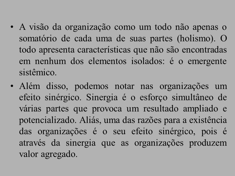 A visão da organização como um todo não apenas o somatório de cada uma de suas partes (holismo). O todo apresenta características que não são encontradas em nenhum dos elementos isolados: é o emergente sistêmico.