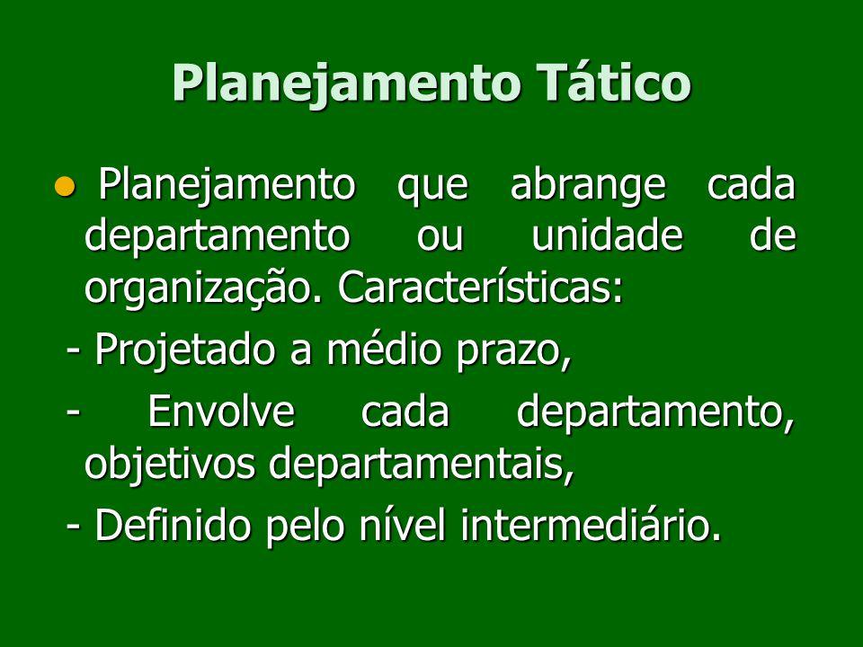 Planejamento Tático Planejamento que abrange cada departamento ou unidade de organização. Características: