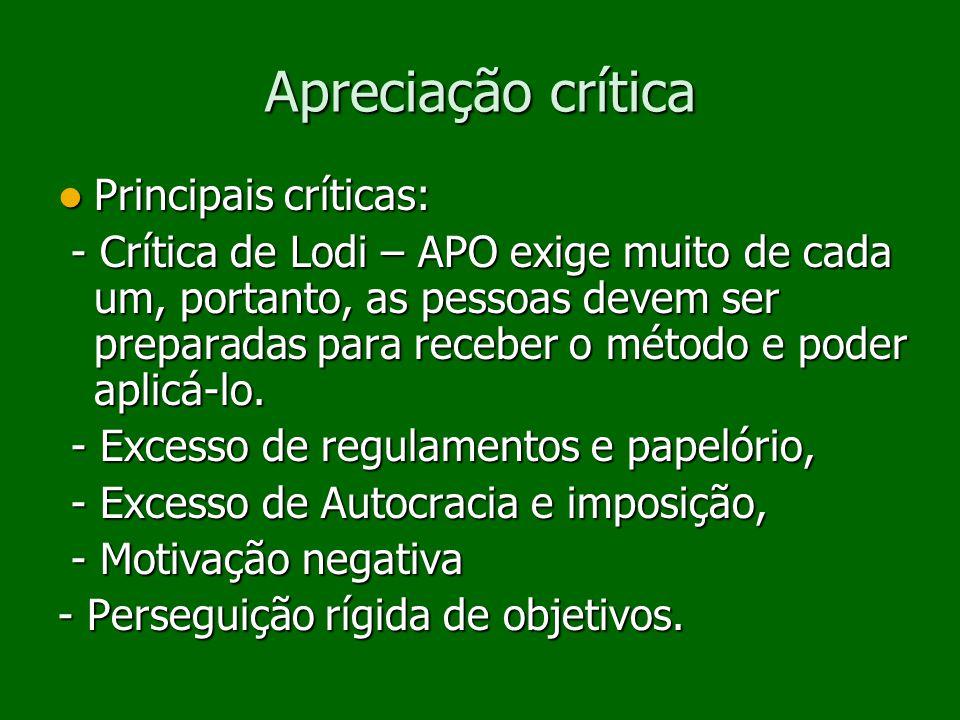 Apreciação crítica Principais críticas: