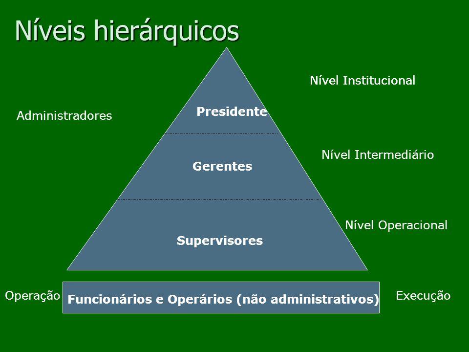 Níveis hierárquicos Nível Institucional Nível Institucional Presidente