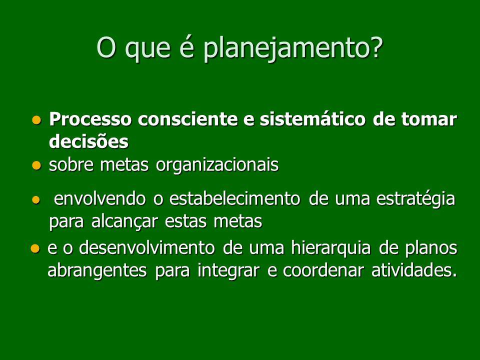 O que é planejamento Processo consciente e sistemático de tomar decisões. sobre metas organizacionais.
