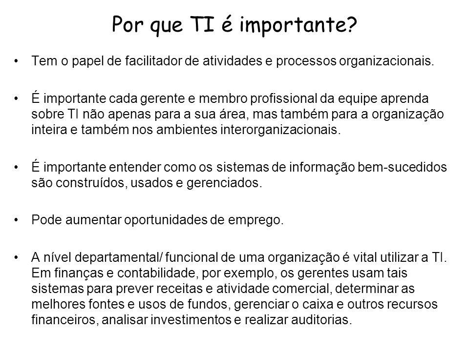 Por que TI é importante Tem o papel de facilitador de atividades e processos organizacionais.