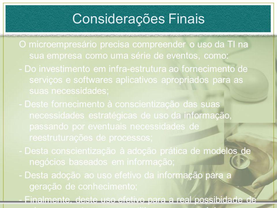 Considerações Finais O microempresário precisa compreender o uso da TI na sua empresa como uma série de eventos, como: