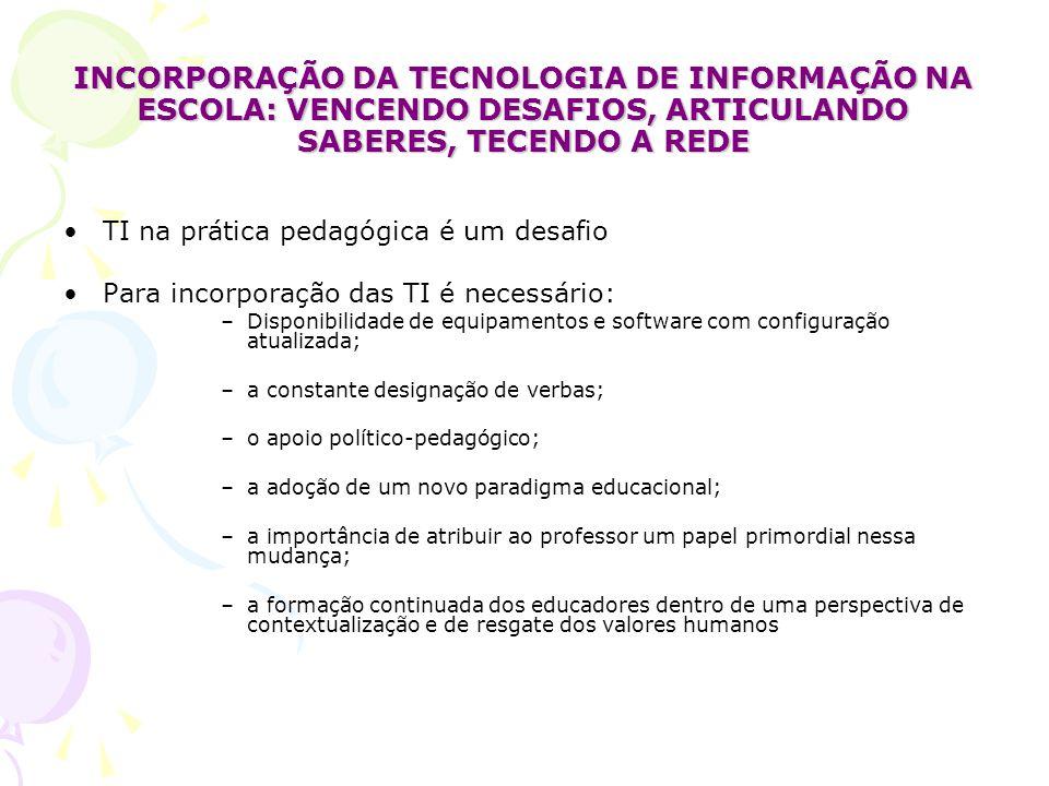 INCORPORAÇÃO DA TECNOLOGIA DE INFORMAÇÃO NA ESCOLA: VENCENDO DESAFIOS, ARTICULANDO SABERES, TECENDO A REDE