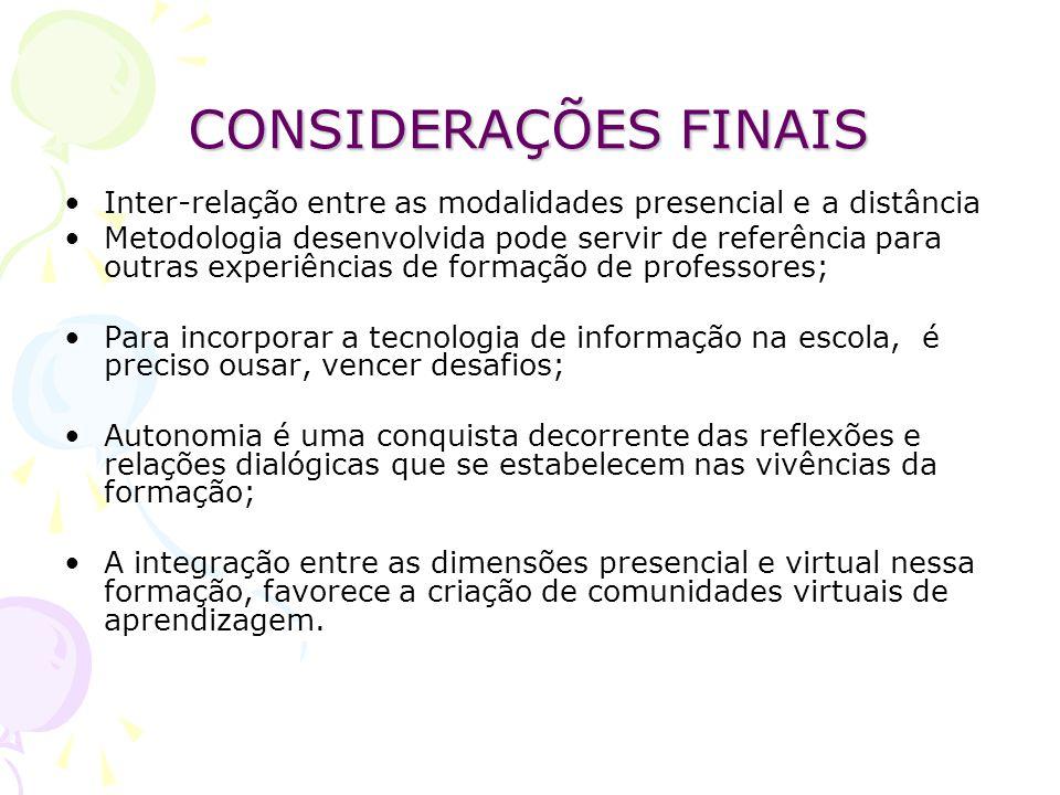 CONSIDERAÇÕES FINAIS Inter-relação entre as modalidades presencial e a distância.