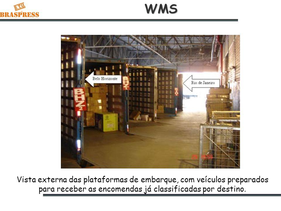 WMS Vista externa das plataformas de embarque, com veículos preparados para receber as encomendas já classificadas por destino.