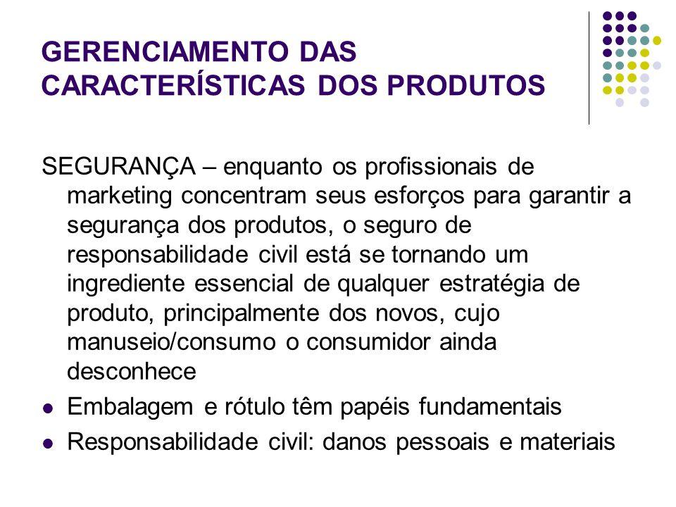 GERENCIAMENTO DAS CARACTERÍSTICAS DOS PRODUTOS