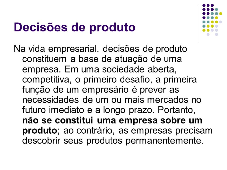 Decisões de produto