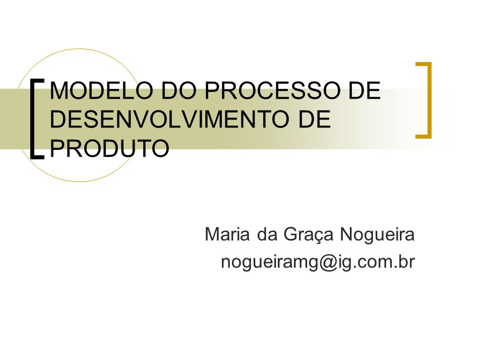 MODELO DO PROCESSO DE DESENVOLVIMENTO DE PRODUTO