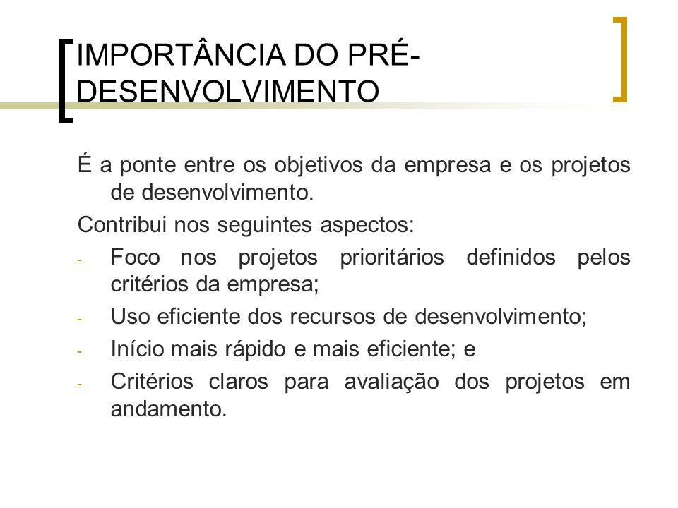 IMPORTÂNCIA DO PRÉ-DESENVOLVIMENTO