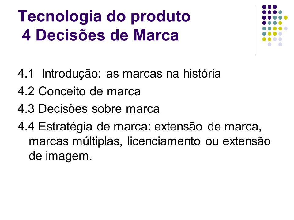 Tecnologia do produto 4 Decisões de Marca