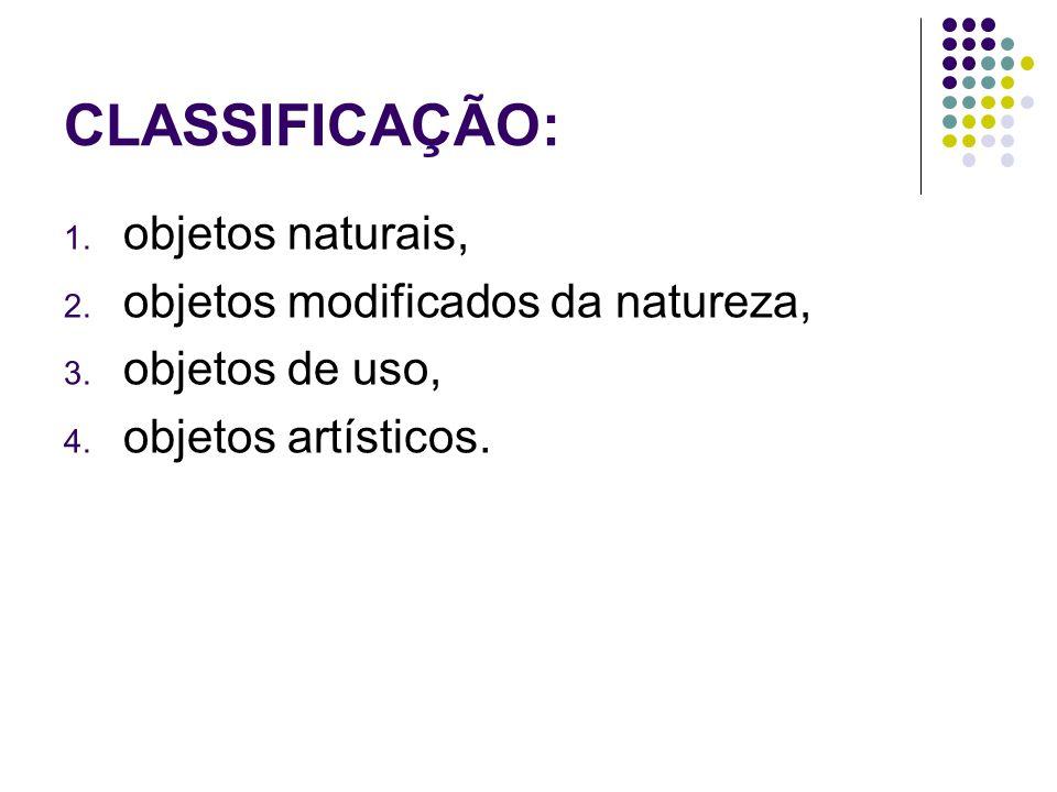 CLASSIFICAÇÃO: objetos naturais, objetos modificados da natureza,