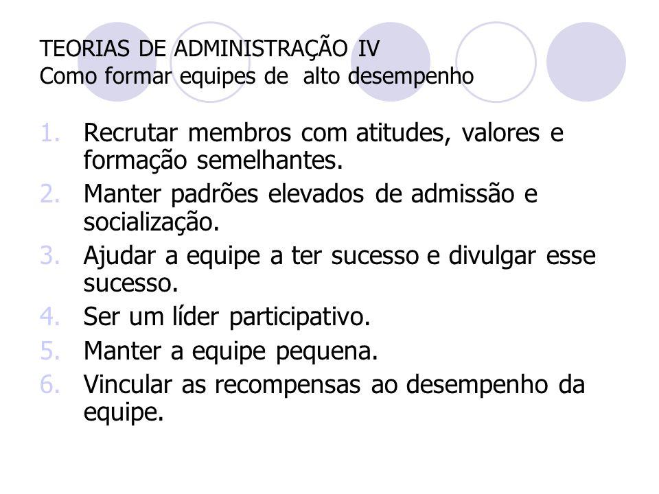 TEORIAS DE ADMINISTRAÇÃO IV Como formar equipes de alto desempenho