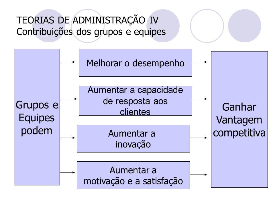 TEORIAS DE ADMINISTRAÇÃO IV Contribuições dos grupos e equipes