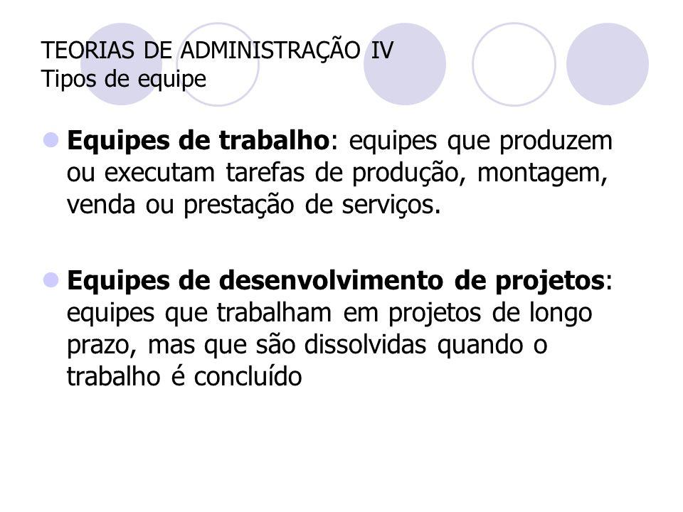TEORIAS DE ADMINISTRAÇÃO IV Tipos de equipe