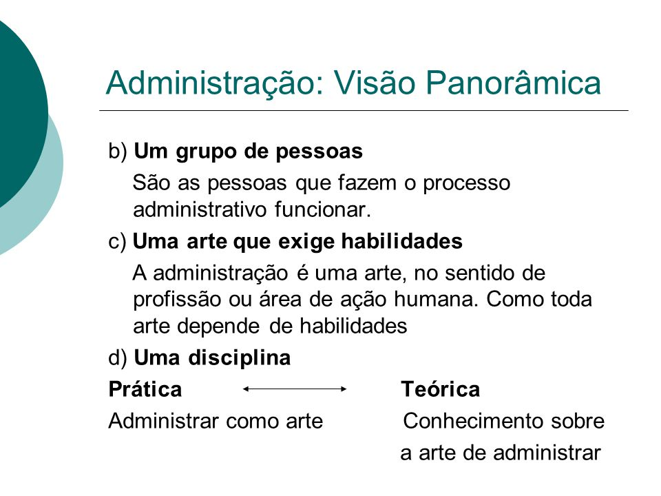 Administração: Visão Panorâmica
