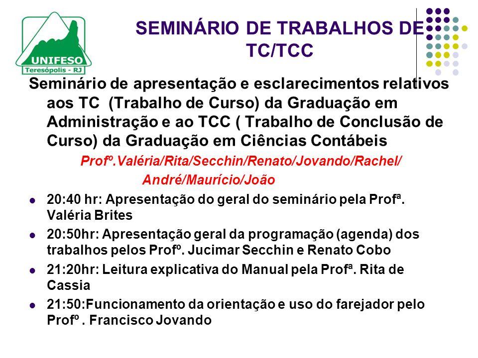 SEMINÁRIO DE TRABALHOS DE TC/TCC