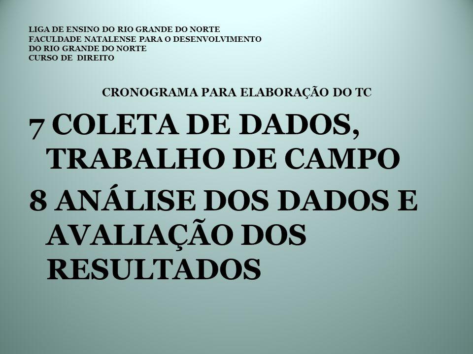CRONOGRAMA PARA ELABORAÇÃO DO TC