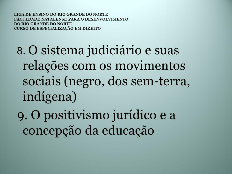 9. O positivismo jurídico e a concepção da educação