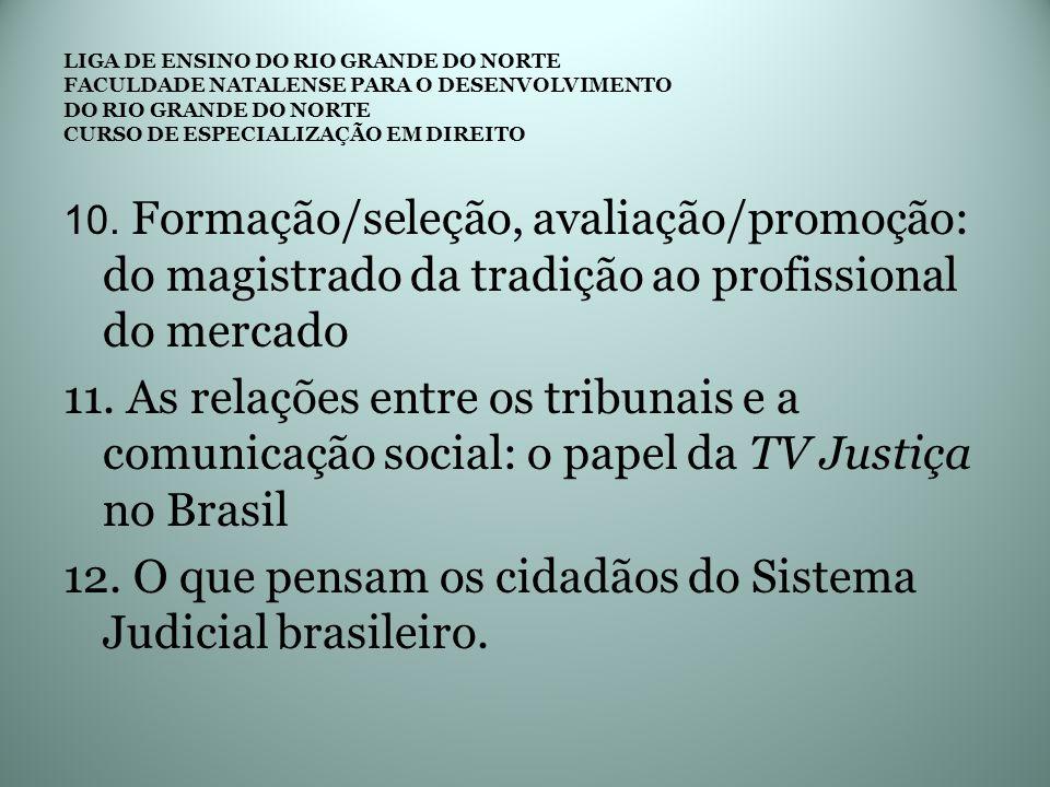 12. O que pensam os cidadãos do Sistema Judicial brasileiro.