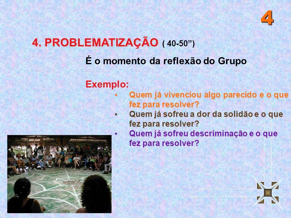 4 4. PROBLEMATIZAÇÃO ( 40-50 ) É o momento da reflexão do Grupo