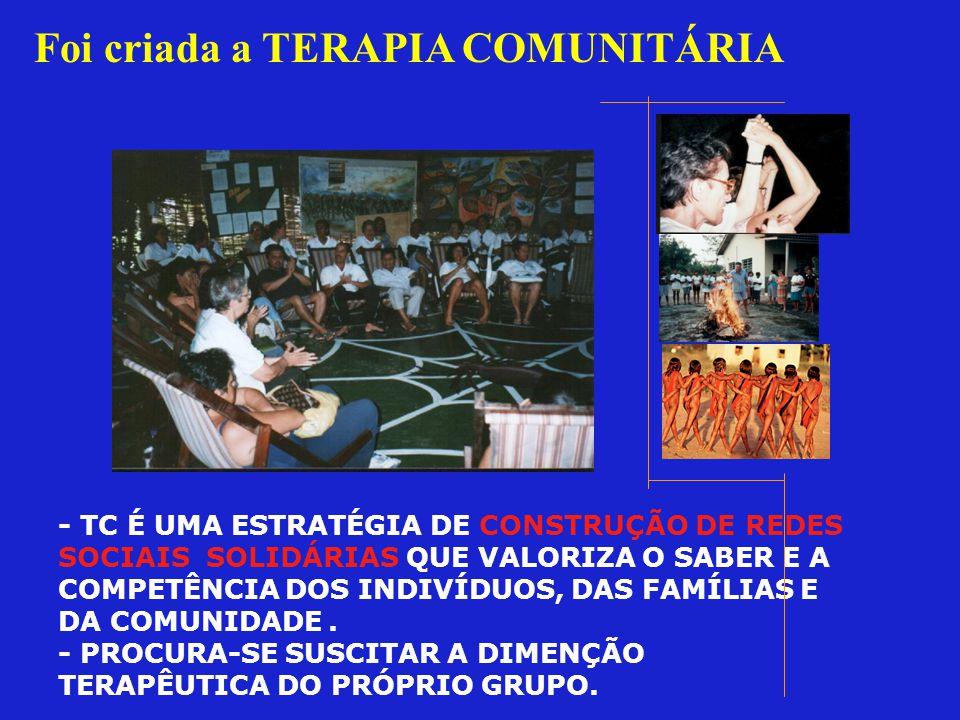 Foi criada a TERAPIA COMUNITÁRIA