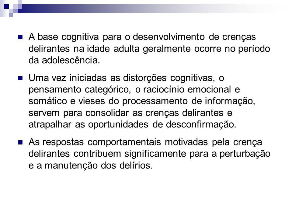 A base cognitiva para o desenvolvimento de crenças delirantes na idade adulta geralmente ocorre no período da adolescência.