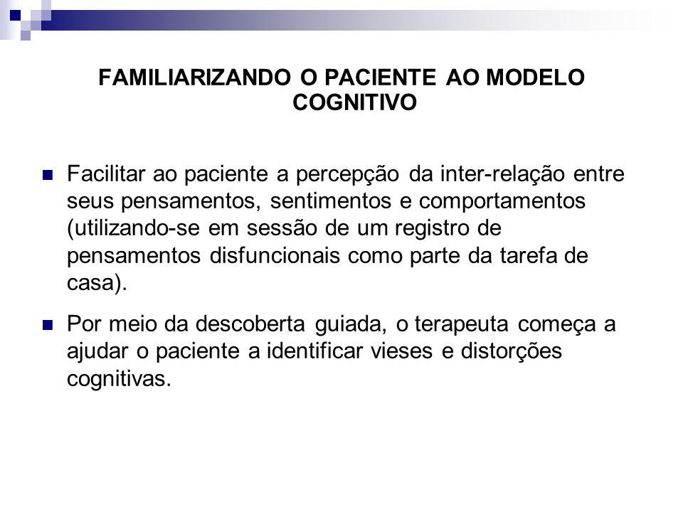 FAMILIARIZANDO O PACIENTE AO MODELO COGNITIVO
