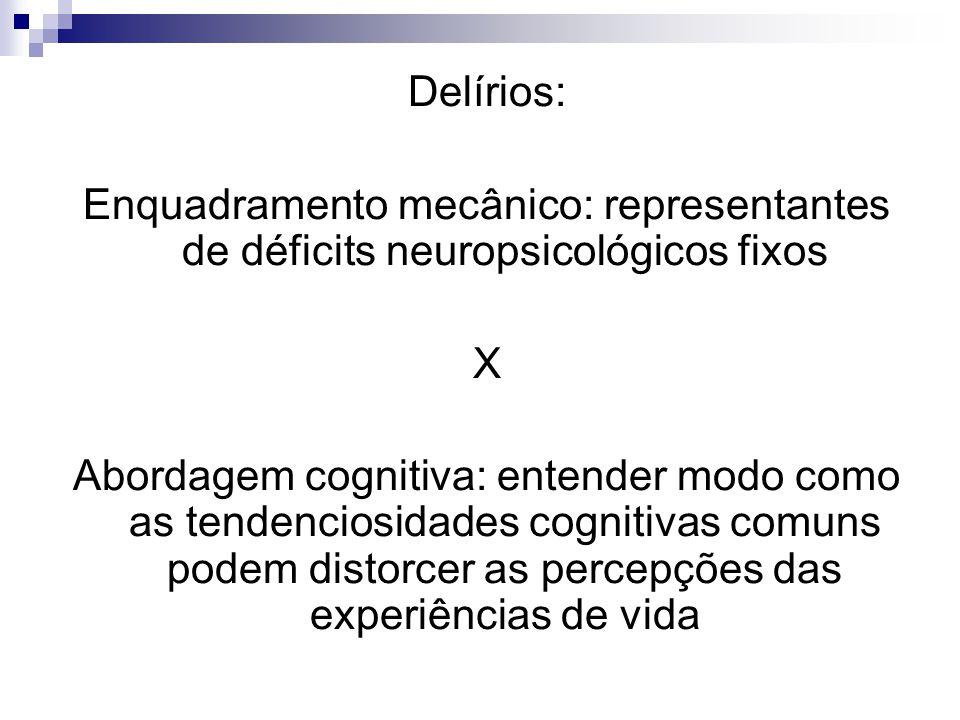 Delírios: Enquadramento mecânico: representantes de déficits neuropsicológicos fixos. X.