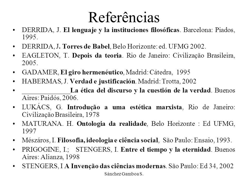 Referências DERRIDA, J. El lenguaje y la instituciones filosóficas. Barcelona: Piados, 1995.
