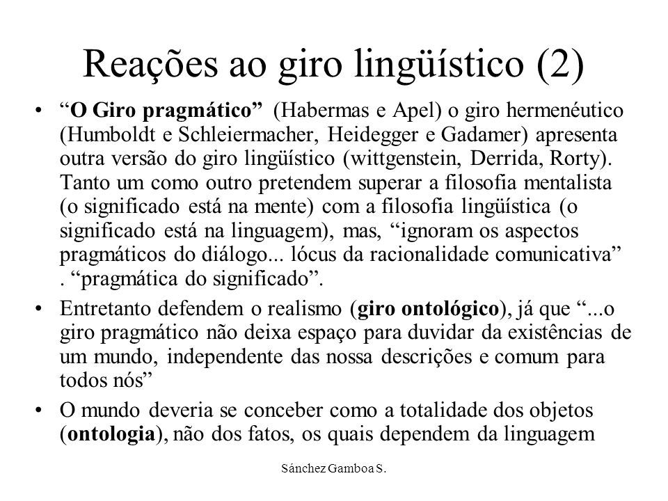 Reações ao giro lingüístico (2)