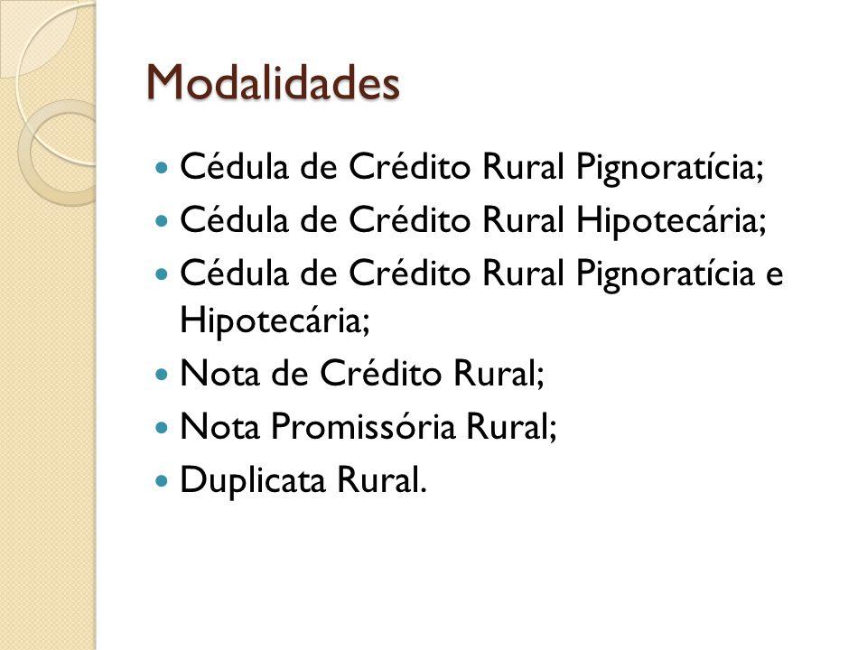 Modalidades Cédula de Crédito Rural Pignoratícia;