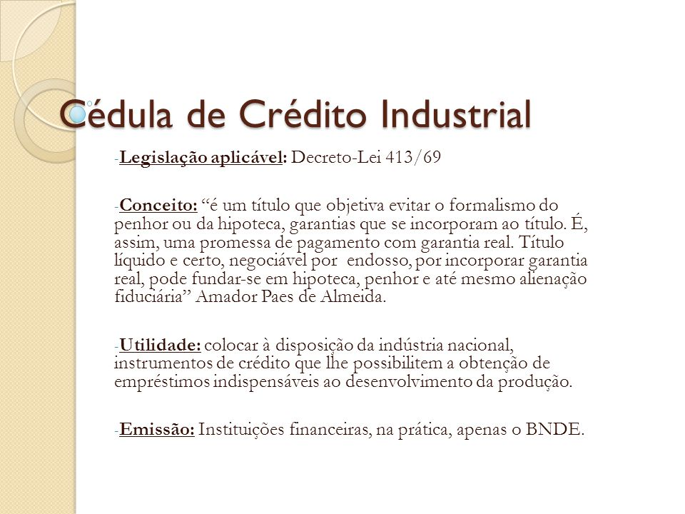 Cédula de Crédito Industrial