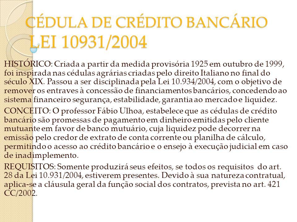 CÉDULA DE CRÉDITO BANCÁRIO LEI 10931/2004