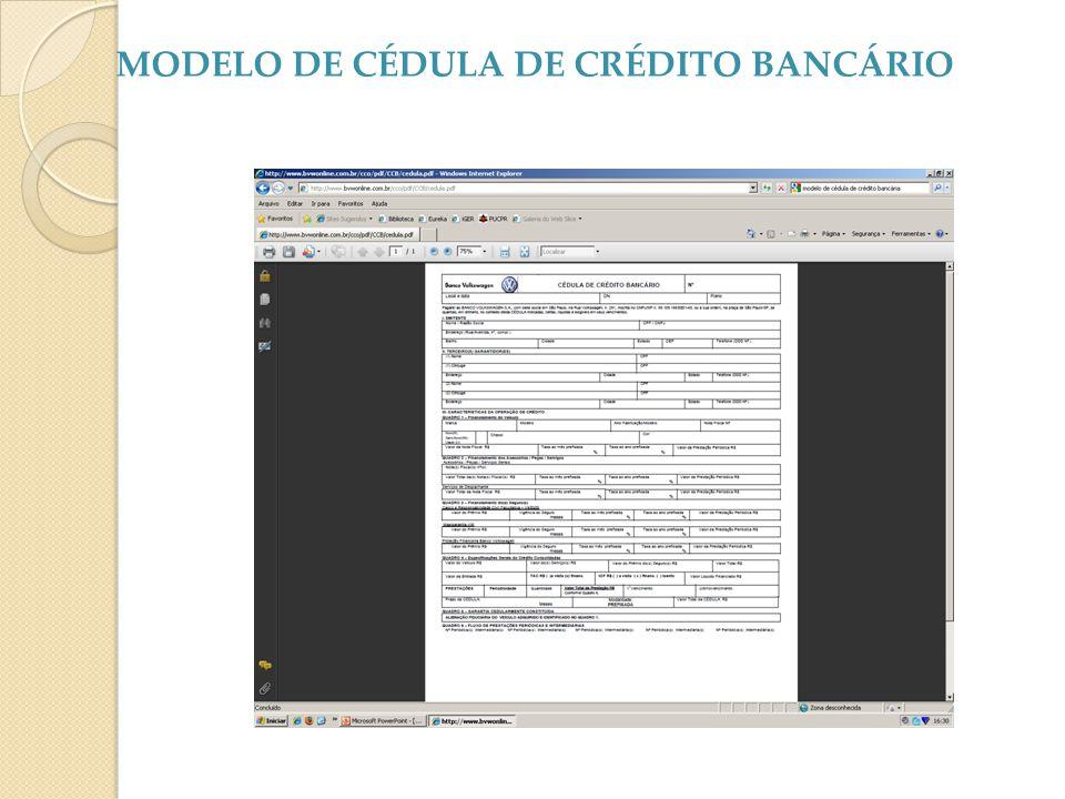 MODELO DE CÉDULA DE CRÉDITO BANCÁRIO